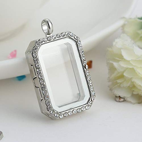 1pc Silver Floating Charm Living Memory Square Crystal Glass Locket Necklace Pendant XS0Y