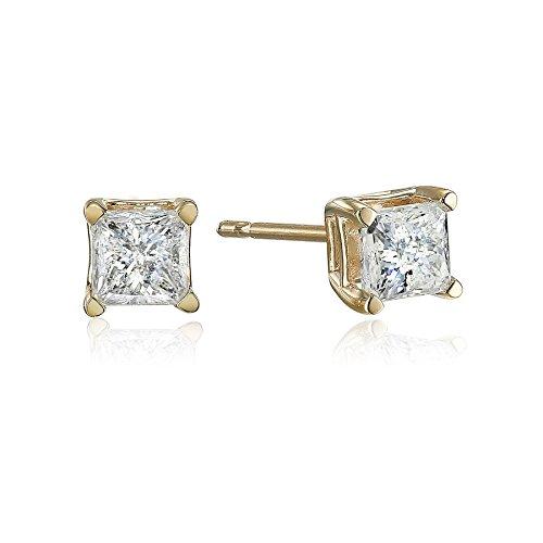 (10k Yellow Gold Princess Diamond Stud Earrings (1/2 cttw))
