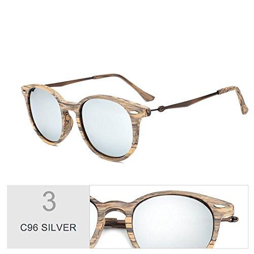 En SILVER Hombres Gafas Similar Para Gafas TIANLIANG04 De Retro Anteojos Unisex Polarizadas Mujeres C96 Oval Guía C96 Sol De De Uv400 Sol Silver Madera F0FgxvHw