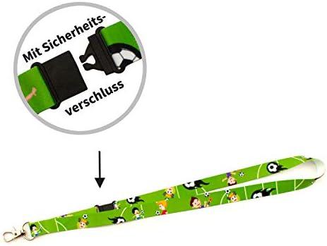 Lanyards/Umhängebänder bedruckt, VE 5 Stück (Kinderlanyard) Motiv Fussball Breite 15 mm
