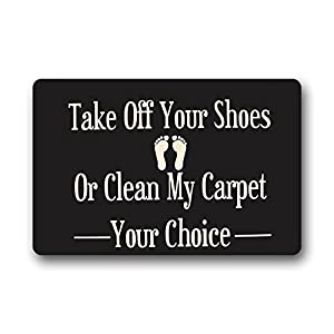 Crystal Emotion Custom Machine-Washable Door Mat Take Off Your Shoes Or Clean My Carpet Indoor/Outdoor Doormat