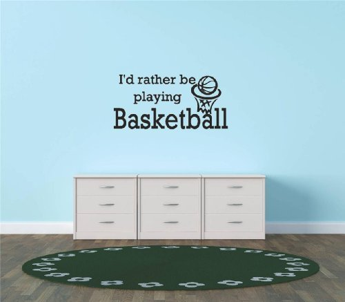 2 Sports Window Graphics (Decals & Stickers : I'd Rather Be Playing Basketball Sports Quote Sign Car Bumper Window Banner Kids Children Boy Girl Team Pride Encouragement Living Room Bedroom Kitchen Home Decor Picture Art Image Peel & Stick Graphic Mural Design Decoration - Size : 12 Inches X 26 Inches - 22 Colors Available)