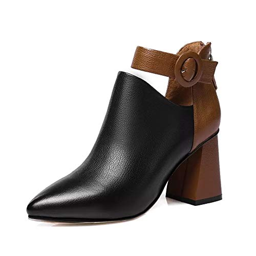 Boots Yukun tacón Black Martin de Frescos Grueso Tacones con con alto Word zapatos Hebilla Altos Pequeños 1TRq01w