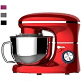 Heska -1500W Food Stand Mixer - 4-in-1 Beater/Whisk / Dough Hook/Flex Edge Beater - 5.5 Litre Mixing Bowl with Splash Guard (Red)