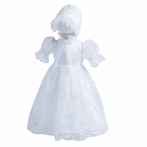 H.X Newborn Baby Girls Lace Gauze Embroidered Christening Baptism Birthday Dresses With Bonnet (White, 12M/7-12 Months)