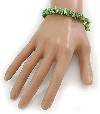 Light Green Shell Nugget Stretch Bracelet up to 19cm