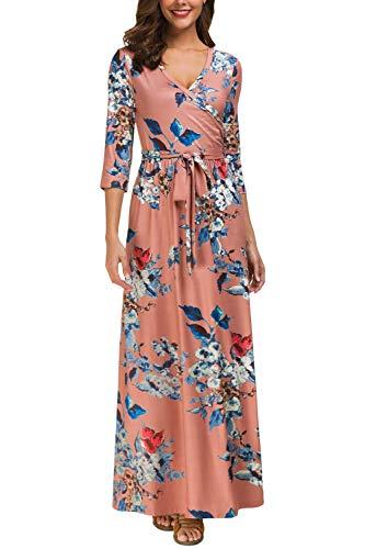 Kranda Womens Floral Print Dress 3/4 Sleeve Faux Wrap Long Maxi Dress with Belt,Dark -