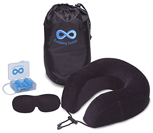 Everlasting Comfort 100% Pure Memory Foam Neck Pillow Airplane Travel Kit Ultra Plush Velour Cover, Sleep Mask Earplugs