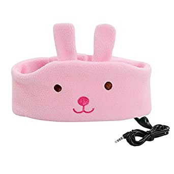COTOP Children Headband Headphone Music Headband, Comfortable Volume-Limited Soft Fleece Headband - Perfect for Kids (Pink Rabbit)