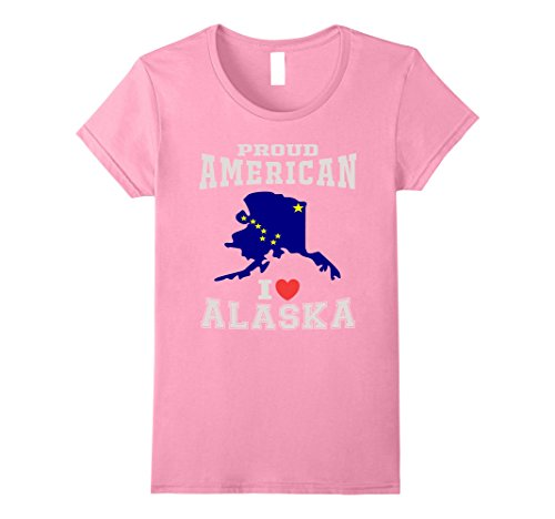 [Womens Proud American& Love Alaska Distressed Alaska State T-shirt  Medium Pink] (Alaska Womens Pink T-shirt)