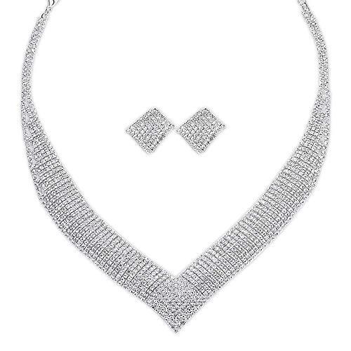 (mecresh Bridal Austrian Crystal Rhinestone Necklace and Earrings Wedding Bridal Jewelry Set)