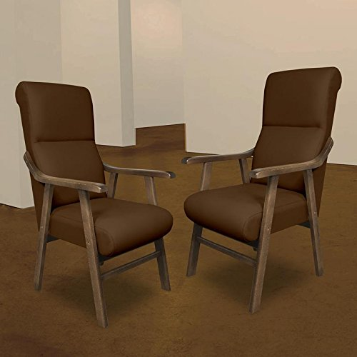 SERMAHOME Pack 2 Sillones butaca Boston, Estructura de Madera de Haya Color Nogal. Tapizado en Tela Antimanchas Color Chocolate. Sillon para Comedor | ...