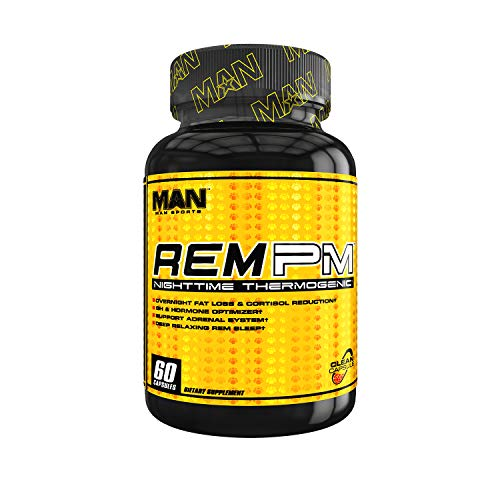 MAN Sports REM PM Sleep Aid, Night Time Thermogenic Fat Burner, Stimulant Free Weight Loss Supplement, 60 Capsules