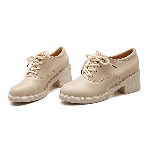 AllhqFashion Damen Schnüren Rund Zehe PU Leder Rein Pumps Schuhe Cremefarben