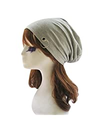 Aivtalk Unisex Mens Womens Winter Warm Crochet Baggy Cap Beret Slouch Beanie Hat Light Ring Ski Hat Gray