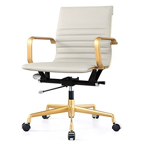 MEELANO M348 Office Chair in Vegan Leather, Grey and Gold