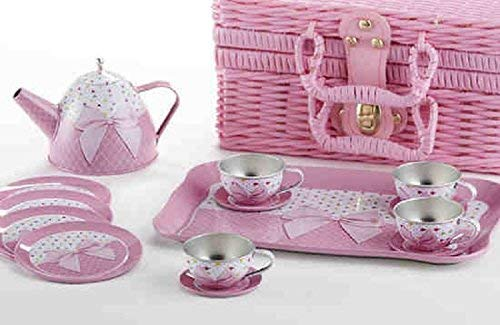 Delton Products Tin 15 Pieces Tea Set in Basket Pink Bow Serveware