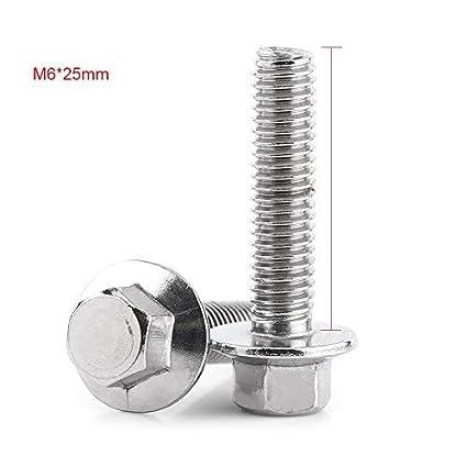 10pcs M6 acier inoxydable SS304 kit de vis M6*20 Vis /à bride hexagonale Fixation des boulons de la t/ête de la rondelle