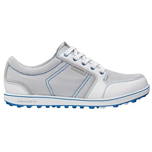 2014 Ashworth Cardiff ADC Mesh Waterproof Mens Golf Shoes Pebble White Air Force Blue 8US