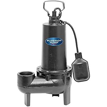 Superior Pump 93501 1 2 Hp Cast Iron Sewage Pump With