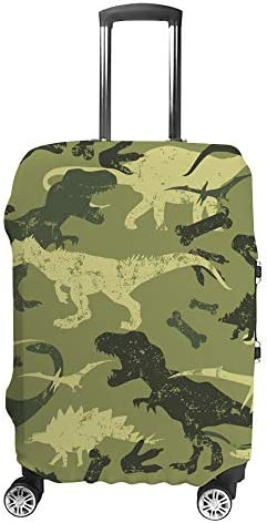スーツケースカバー 迷彩 恐竜柄 伸縮素材 キャリーバッグ お荷物カバ 保護 傷や汚れから守る ジッパー 水洗える 旅行 出張 S/M/L/XLサイズ