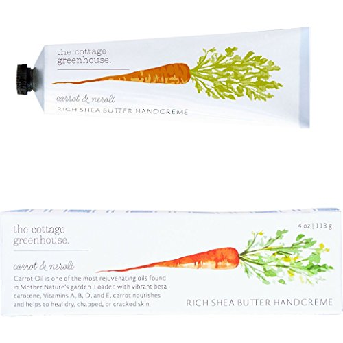 (The Cottage Greenhouse Carrot & Neroli Rich Shea Butter Handcreme, 4 oz | Paraben Free, Gluten Free, Cruelty Free, Moisture Rich, Vegan, Natural Emollients of Jojoba and Carrot Oils Hand Cream)