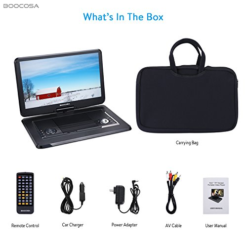 BOOCOSA Portable DVD Player with 270° Swivel TFT LCD Screen, Remote Control, Built-in 5 Hours Rechargeable Battery, Car Charger, AV Cable, Carrying Bag, CD/MMC Card Slot/USB (15.6 Inches, Black) by BOOCOSA (Image #6)