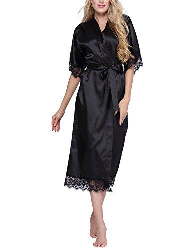 Original Kimono Womens Solid-Colored Long Kimono Robe Loungewear with Lace Trim