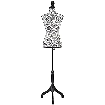 Giantex Female Mannequin Torso Body Dress Form with Black Adjustable Tripod Stand, for Clothing Dress Jewelry Display (Black Flower)