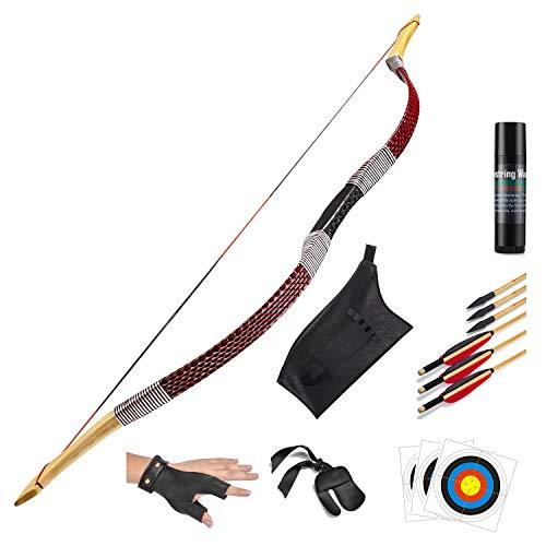 KAINOKAI Traditional Handmade Longbow Horsebow Hunting Recurve Archery Bow Recurve Bow Set (Red Dragon, 40.0 Pounds)