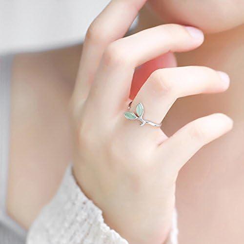 Wicemoon Bague R/églable Forme de Branche en Email Vert Simplicit/é des Anneaux Anneau de la Queue,Fantaisie Bijoux Bague de Fian/çailles Femme Alliance Mariage Anniversaire