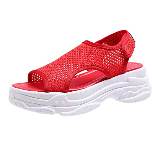 - Women Sandals, ❤️ FAPIZI Open Toe Wedges Mules Mid Heel Sandals Summer Casual Breathable Walking Shoes Sandals Red