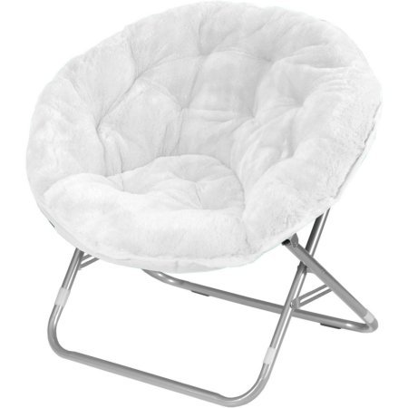 Mainstays Adult Faux Fur Saucer Chair (1, White)