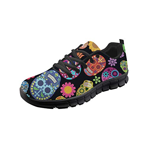 4 Sugar Walking Go Jogging Skulls Up Skulls Coloranimal Sneakers Easy Lightweight Flats Sugar Lace wOqCxFBRn