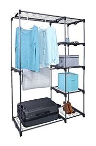 Whitmor Freestanding Portable Closet Organizer U2013 Heavy Duty Black Steel  Frame   Double Rod Wardrobe Cloths Storage With 5 Shelves U0026 Shoe Rack For  Home Or ...
