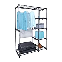Whitmor Black Double Rod Freestanding Closet Organizer