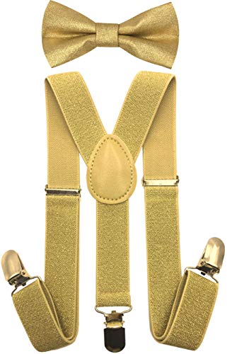 CD Kids, Toddlers Suspender and Bow Tie Set, Adjustable Set and Colors for Boys and Girls (Metallic Gold) -