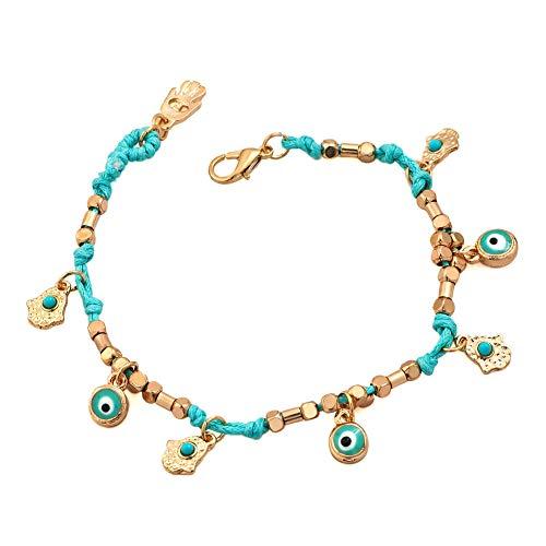 (Evil Eye Turkish Protection Ojo Woven String Hamsa Hand)