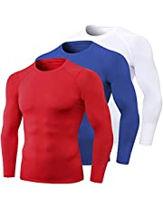3 Pack Men's Athletic Compression Shirts Cool Dry Mock Turtle Neck Baselayer Long Sleeve Workout Running T-Shirts