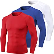 3 Pack Men's Athletic Compression Shirts Cool Dry Mock Turtle Neck Baselayer Long Sleeve Workout Running T