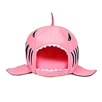 ArMordy(TM) 3 Colors Cartoon Shark Dog Bed House Winter Warm Cat Bed Detachable
