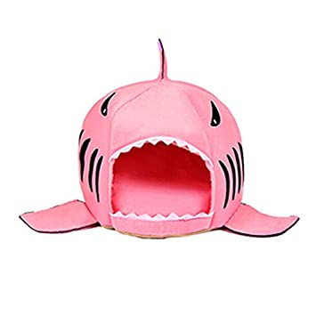 Amazon.com : ArMordy(TM) 3 Colors Cartoon Shark Dog Bed House Winter Warm Cat Bed Detachable Wash Chihuahua Small Dog House Cama Perro[ Pink S ] : Pet ...