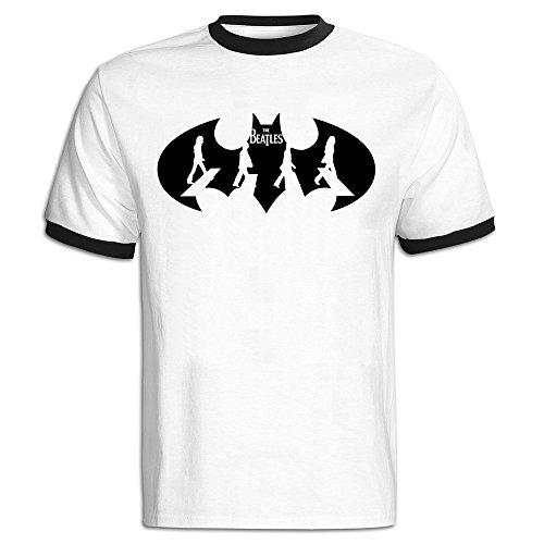 FQZX Men's Batman And The Beatles English Rock Band Logo Baseball Tee Small Black