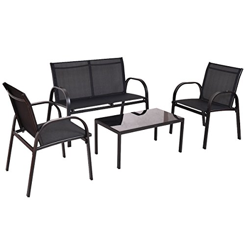 4 PCS Patio Furniture Set Sofa Coffee Table Steel Frame Garden Deck Black New (Furniture Repair Phoenix Wicker)