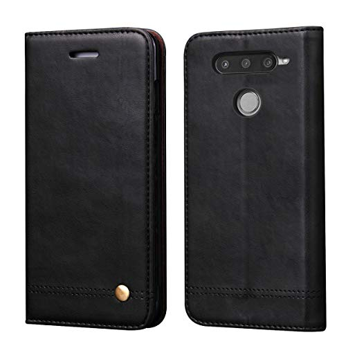 LG V40 ThinQ Case,LG V40 Case,RUIHUI Leather Wallet Folding Flip Slim Protective Case Shell Cover Card Slots,Kickstand Feature Magnetic Closure LG V40 Thinq/Storm 2018 (Black)