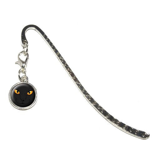 Graphics and More Black Cat Face - Pet Kitty Halloween Metal Bookmark Page Marker with Charm (Halloween Bookmark)