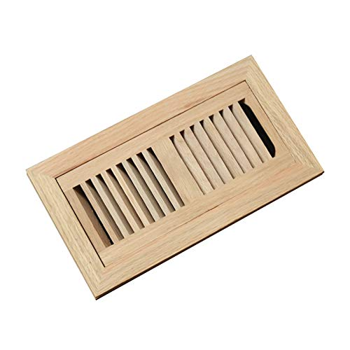 4x10 Red Oak Flush Mount Floor Register Vent with Frame,Unfinished by WELLAND, Overall Dimension is 12.375