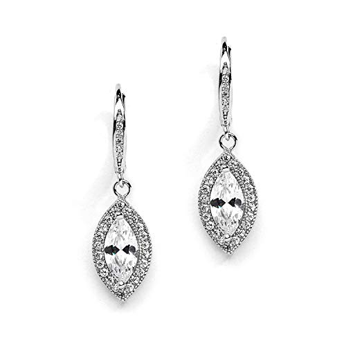 Mariell Vintage Marquis-Cut Cubic Zirconia Drop Earrings for Brides, Weddings and Formals ()