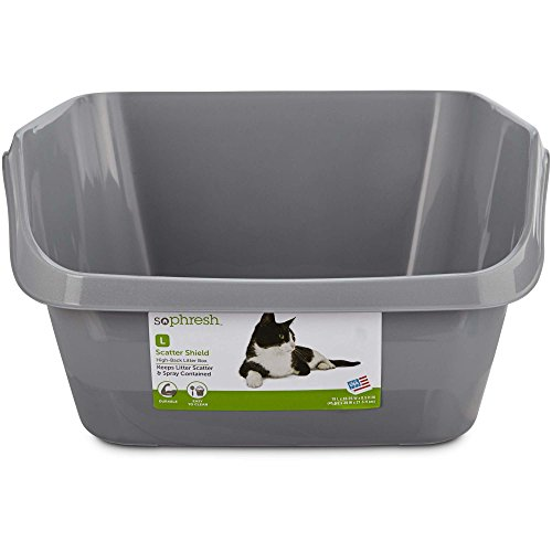 So Phresh Scatter Shield High-Back Litter Box in Gray, 18.5