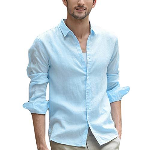 Beautyfine Cotton Linen T Shirts for Men Solid Long Sleeve Button Retro Turn-Down Collar Shirts Light Blue
